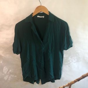 Green All in Favor button back short sleeve top